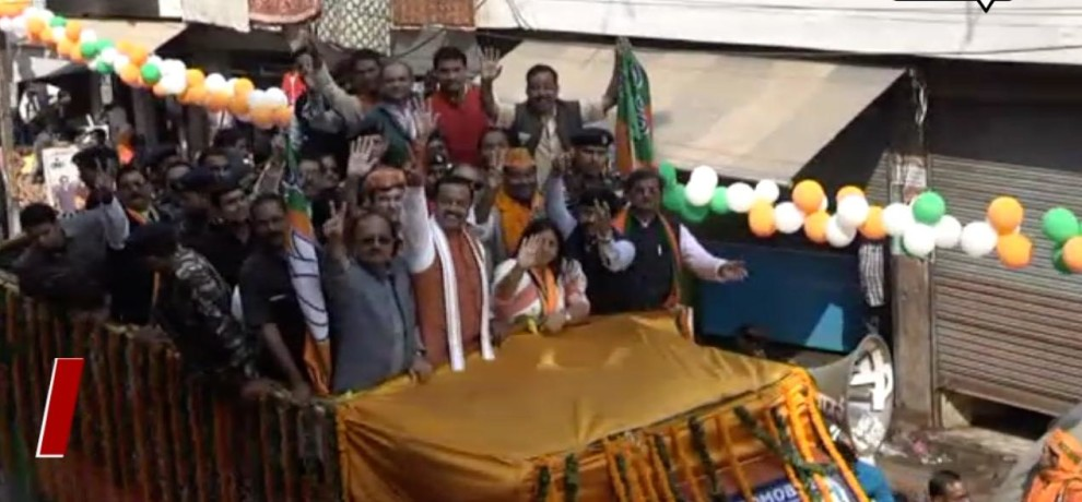 MEGA ROAD SHOW OF KESHAV PRASAD MAURYA IN ALLAHABAD BEFORE NIKAY CHUNAV