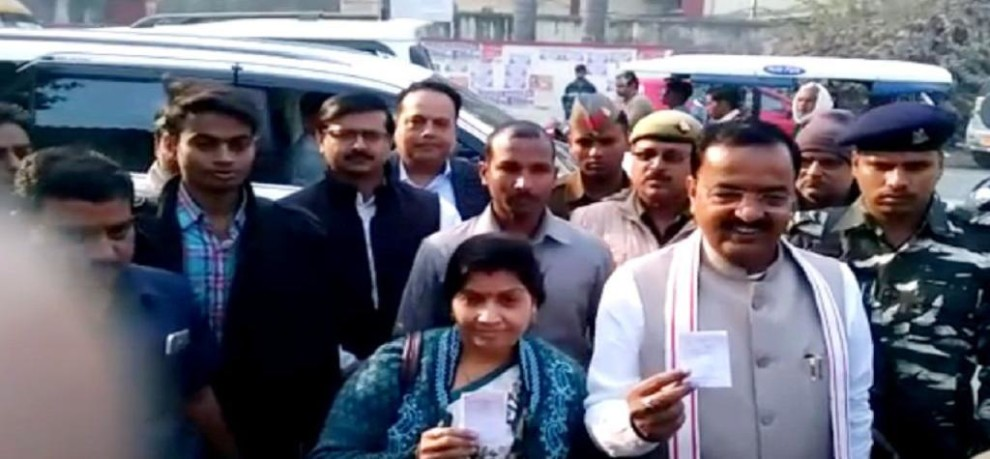 UP DEPUTY CM KESHAV PRASAD MAURYA CAST HIS VOTE IN ALLAHABAD