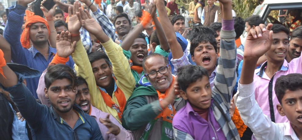 two places BJP, two seats SP, three independents won  Supporters celebrate.