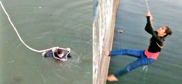 Girl fell into Bhopal pond while taking selfie from mobile People rescued her with rope