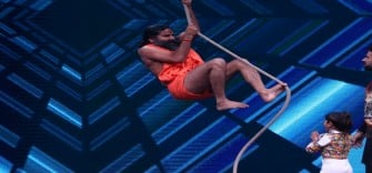Vaishnavi challenges Baba Ramdev on stage of super dancer 2 to do aerial yoga