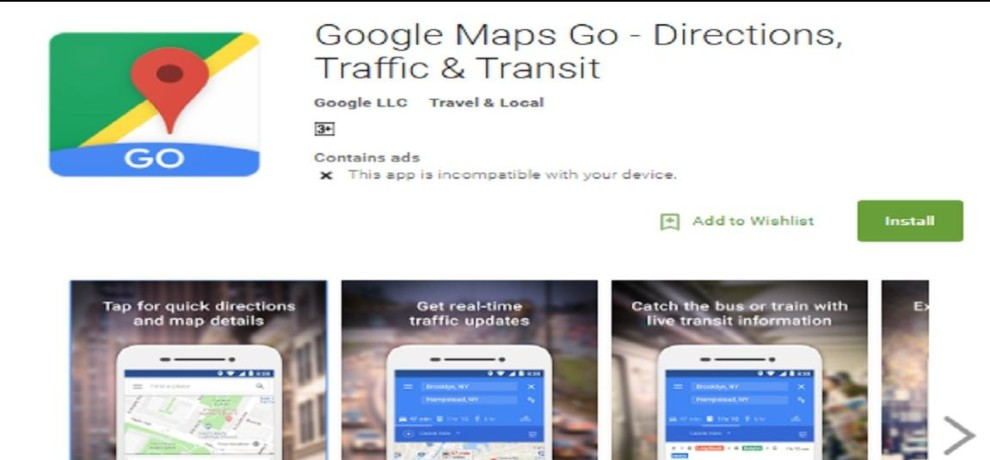 Google Maps Go available on play store for low ram mobile