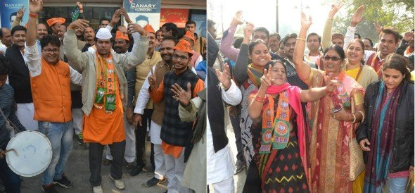 see the photos of BJP victory celebration in purvanchal