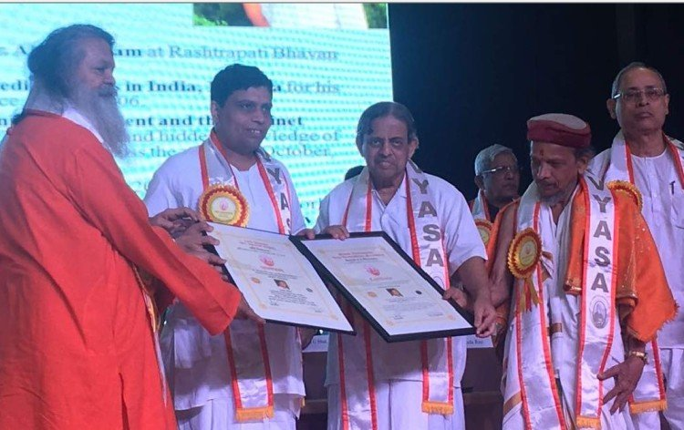 Acharya Balkrishna honored to D.Lit award for yoga and Ayurveda