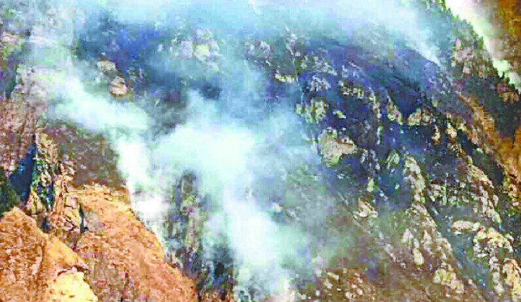 A fire broke out in the forests of Grabang and Chhiyala