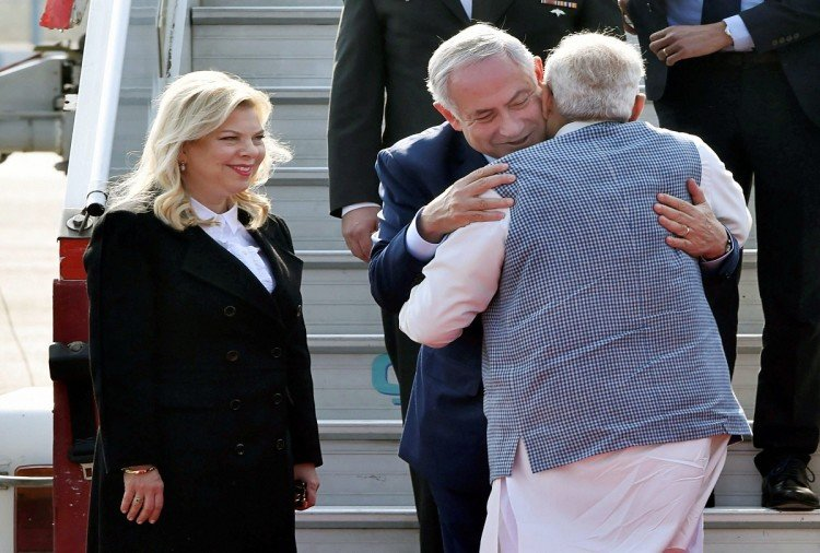 PM Modi Meet with Israel PM Benjamin Netanyahu at Teen Murti Haifa Chowk Delhi