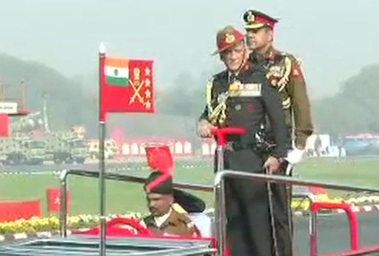 see photos of Indian army celebration for 70th army day in cariappa ground