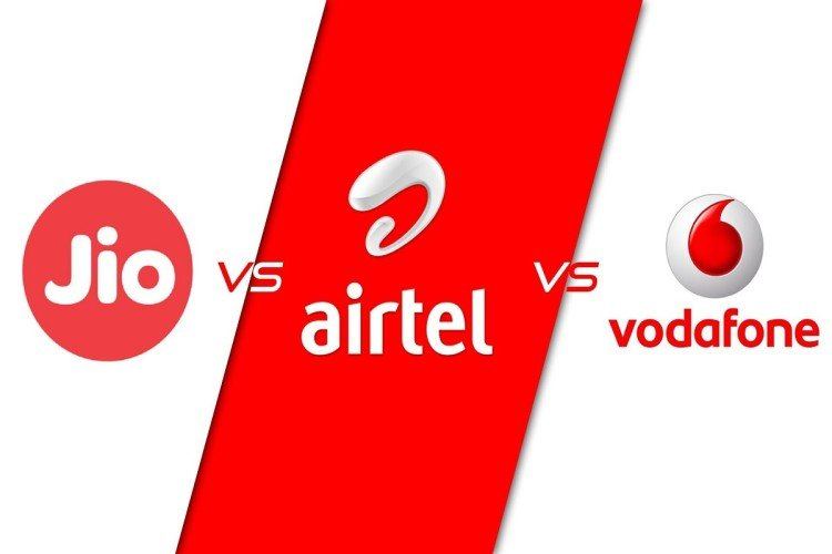 Jio, Airtel and Vodafone