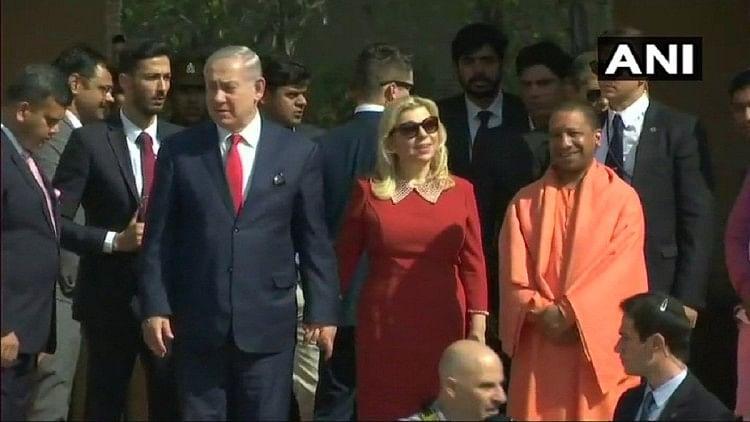 Israel PM benjamin netanyahu visiting taj mahal Agra