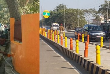 saffron colour on the walls and dividers of roads in gomati nagar in lucknow.
