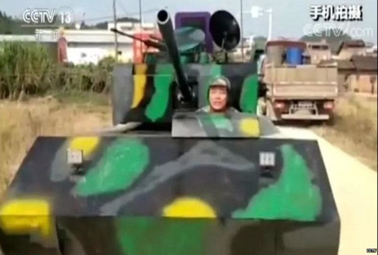 a man modified a truck and make tank in china
