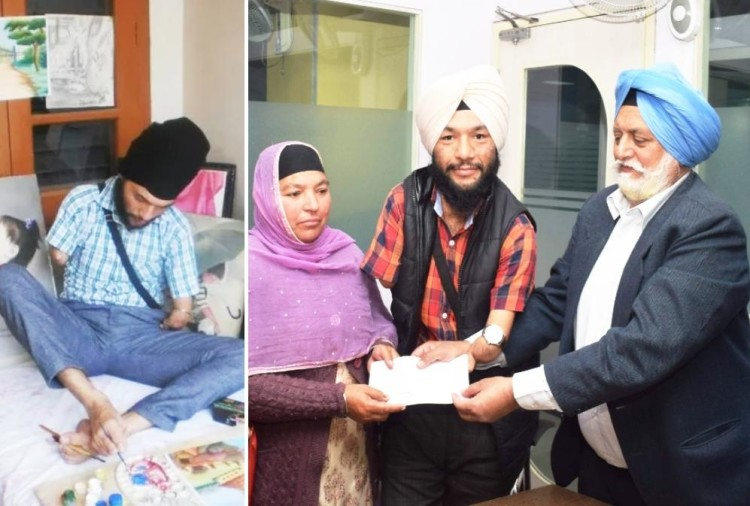 Kulbir Singh Chauhan gives 4 lacks to Paralympic cyclist Jagvinder Singh