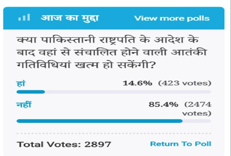 Amar Ujala Poll: opinions, even after order of PAK President, terror activities will not end