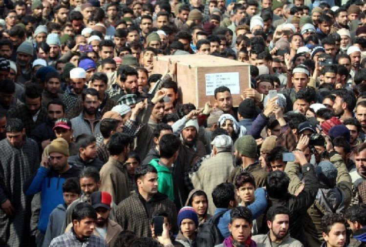 Last rites of Subedar manzoor ahmad conducted at his native village in Kupwara