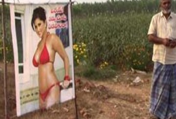 Andhra Pradesh farmer puts up sunny leone poster to save his crops