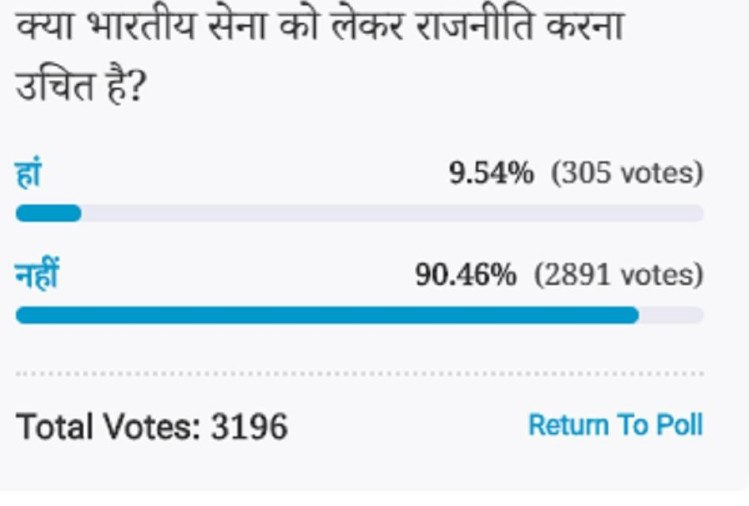 Amar ujala poll: It is not fair to do politics on Indian Army