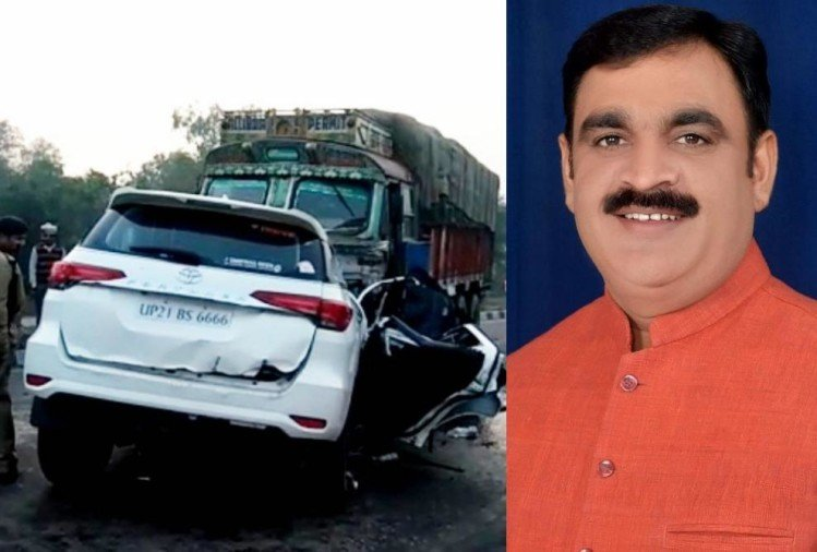 bjp mla lokendra singh killed in an accident in sitapur.