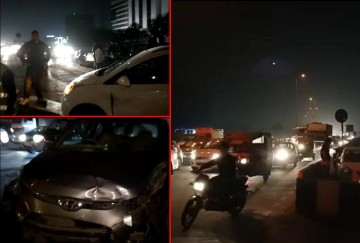 road accident in gurugram when a vehicle coming from opposite direction