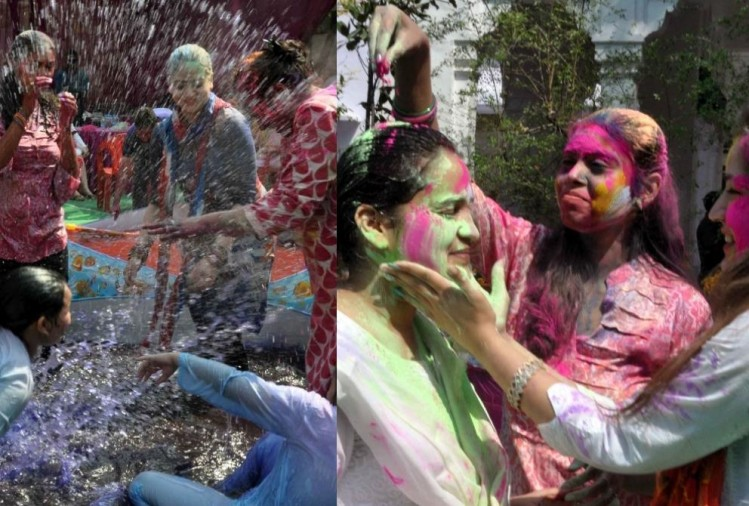 mulayam singh's younger daughter in law plays holi.