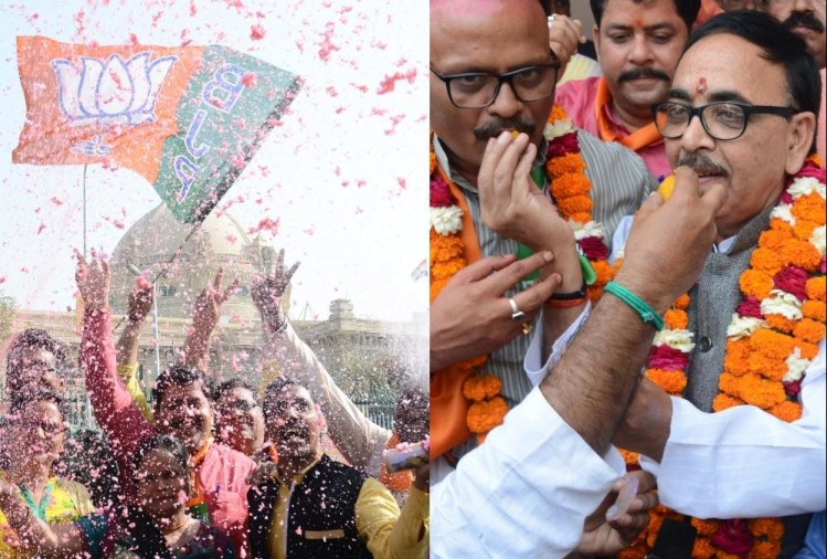 BJP celebrates win of north east states in lucknow.