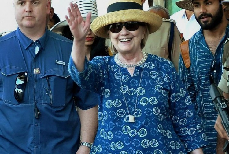 hillary clinton arrives jodhpur to visit umaid bhawan palace