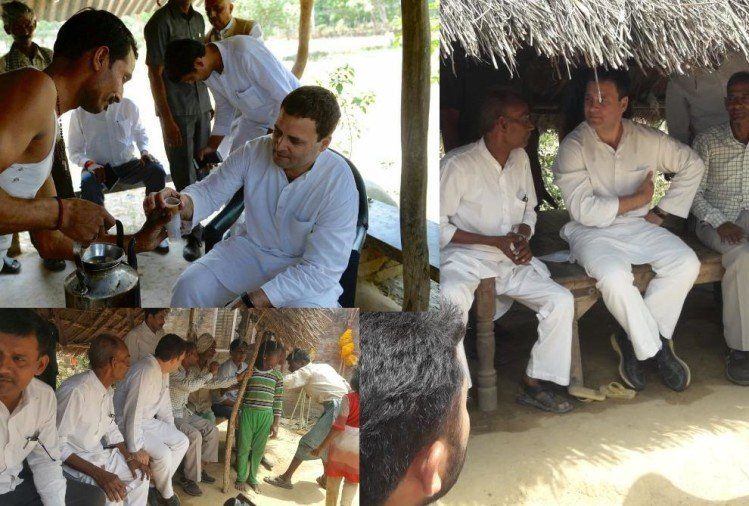 pics of rahul gandhi amethi visit first day.