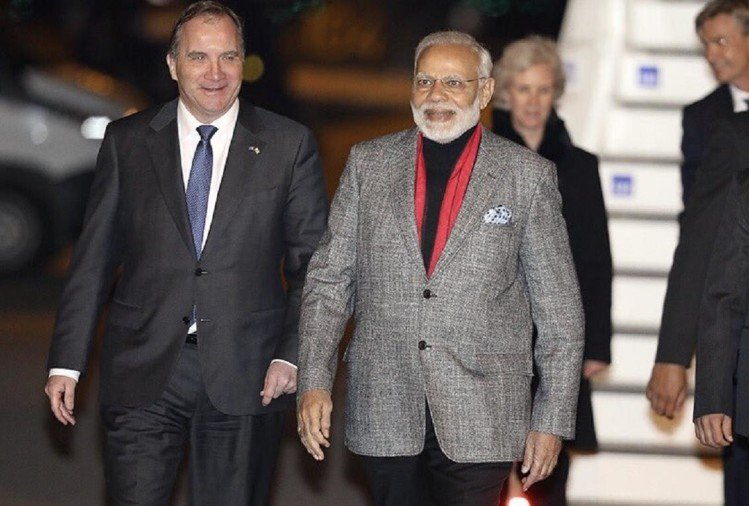 for welcoming narendra modi Swedish Prime Minister Stefan Löfven wrote a tweet in hindi