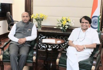 chief minister jai ram thakur calls on Civil Aviation Minister Shri Suresh Prabhu