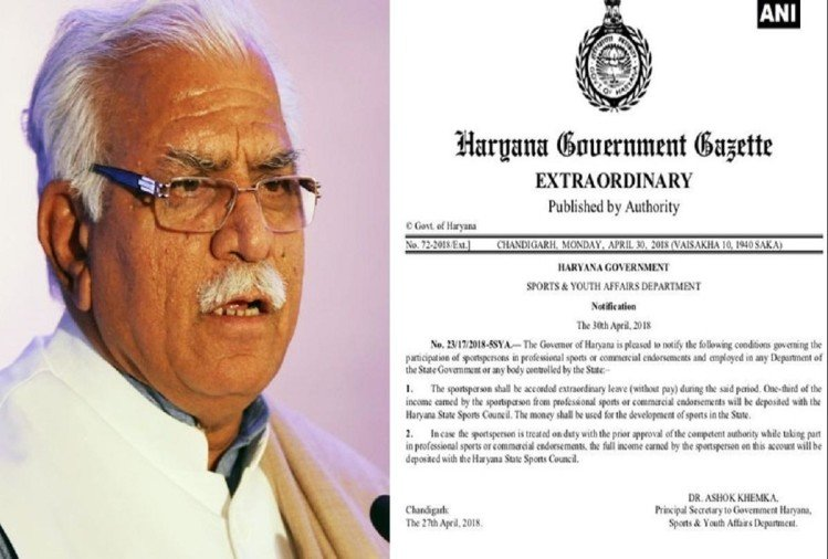 haryana government released notification for state sports persons