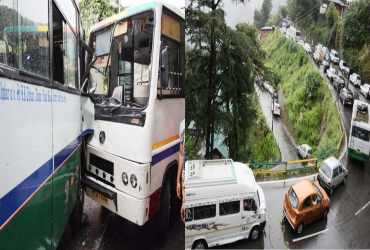 six injured in collision between high speed private buses at shimla