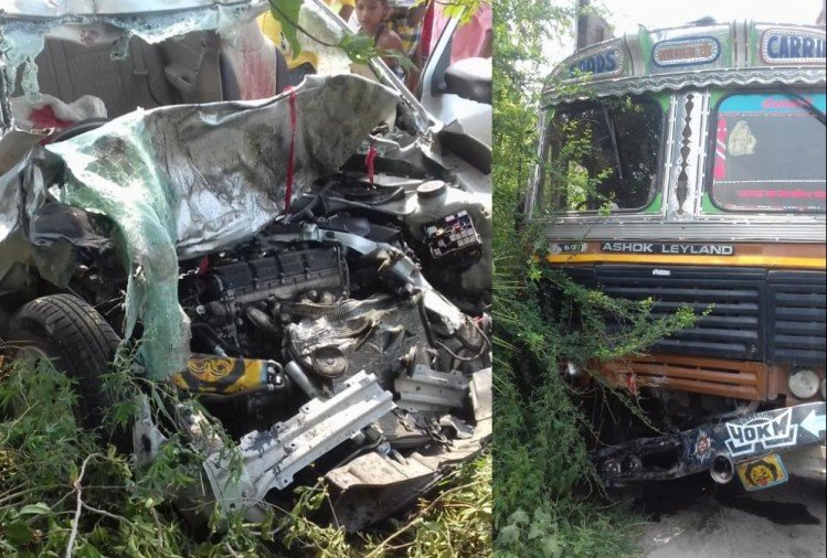 five died in an accident in vajeerganj in gonda.