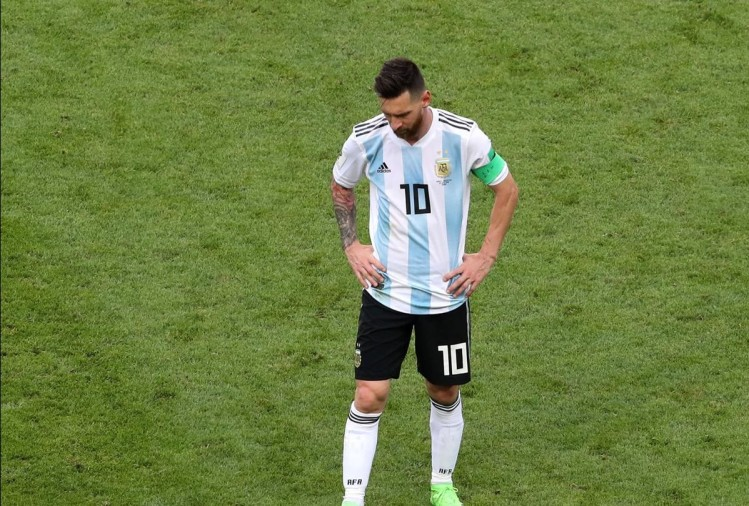 FIFA World Cup 2018: Lionel Messi of Argentina removes his captain's armband and looks dejected