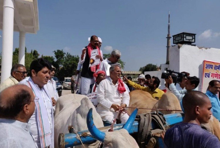 Congress MLA went Vidhan Sabha via Bullock cart in Chhatisgarh, protested against State Government