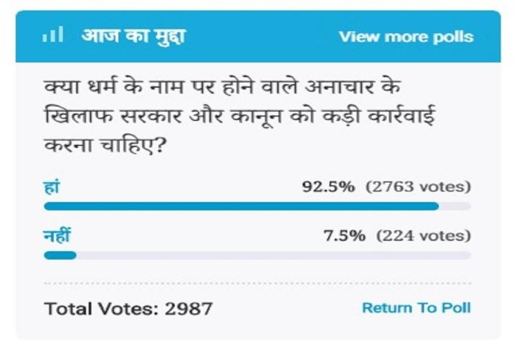 Amar Ujala Poll : Government should take strict decisions against religious malpractice