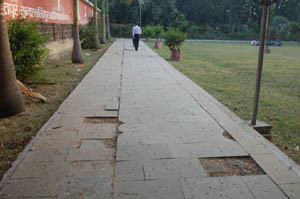 fotpath tiles remove in park