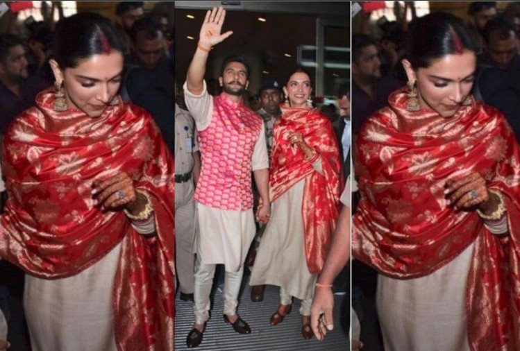ranveer singh and new bride deepika padukone returns to Mumbai