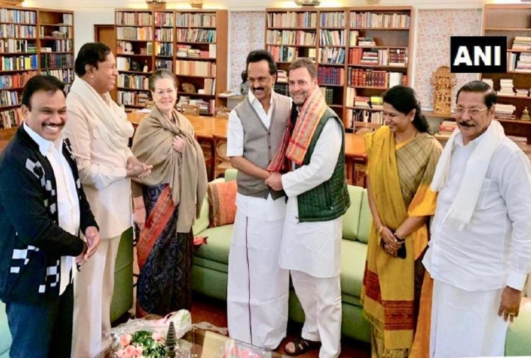Delhi: MK Stalin and MP Kanimozhi met Sonia Gandhi and Rahul Gandhi