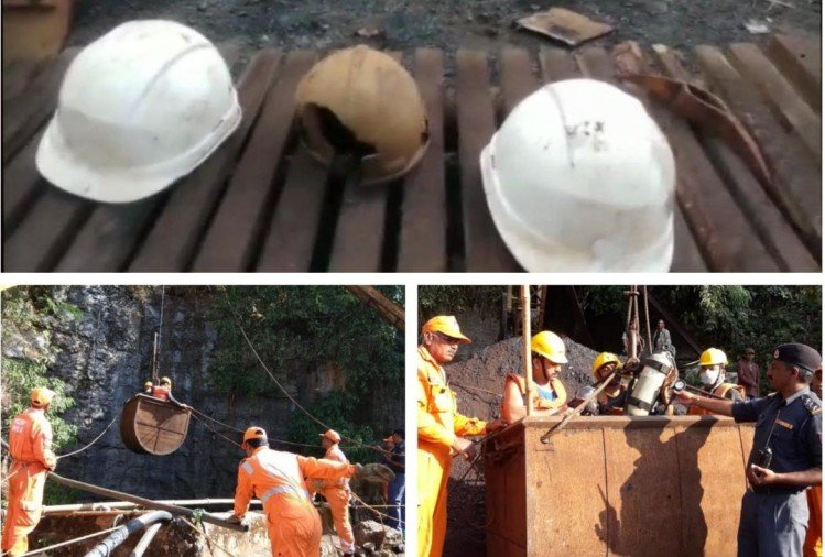 Meghalaya : Navy stopped the work to rescue dead body of miner