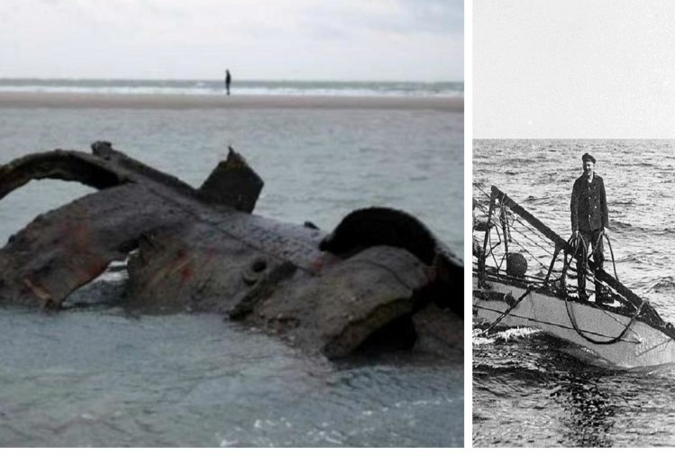first world war german submarine SM UC-61 debris Found at Sea shore