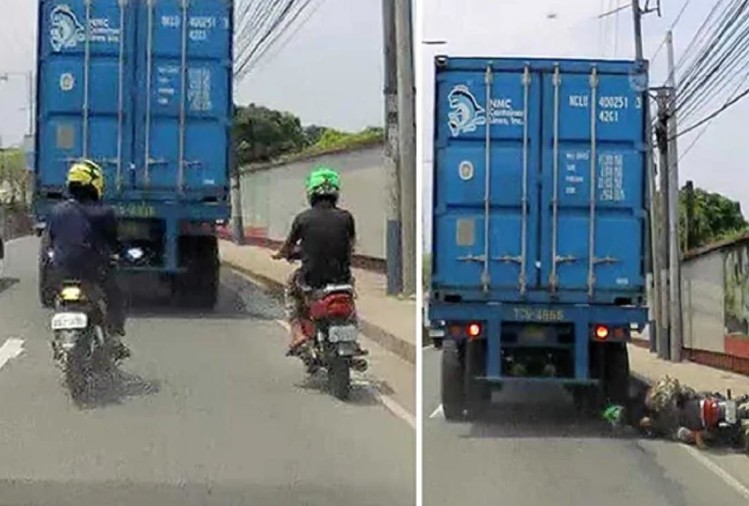viral video : biker survives getting his head run over by truck