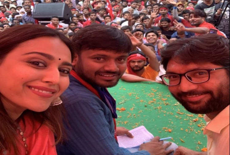 Swara Bhaskar support and campaigns for CPI Candidate Kanhaiya Kumar