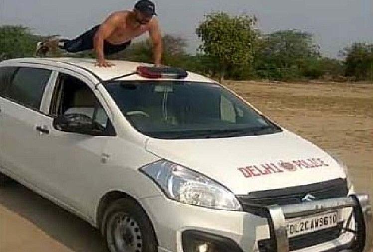 पुलिस की एसयूवी पर स्टंट करते युवक का वीडियो वायरल, वाहन मालिक को नोटिस