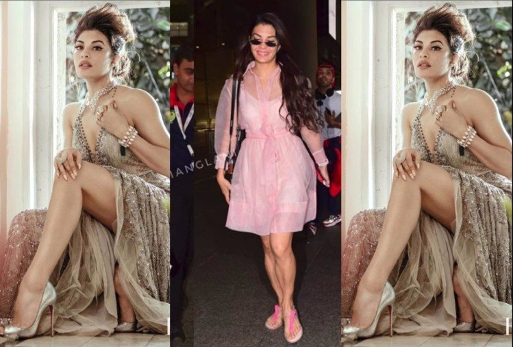 jacqueline fernandez airport look pink transparent dress stunning monsoon style