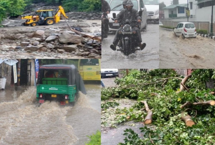 Rainfall Create Waterlogging and landslide in mountain areas uttarakhand photos