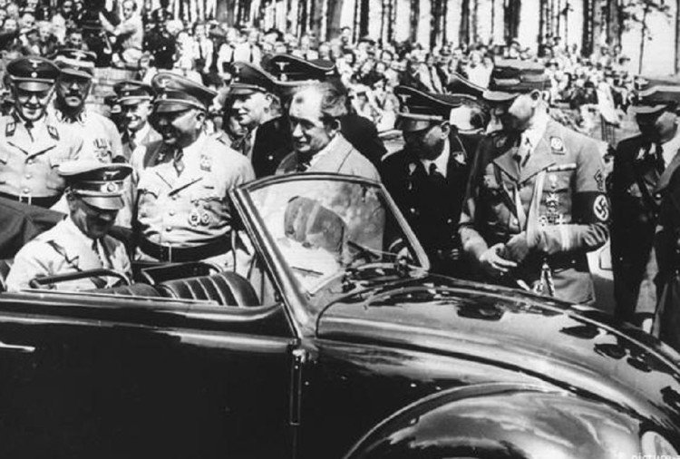Adolf Hitler and Ferdinand Porsche With Volkswagen Beetle