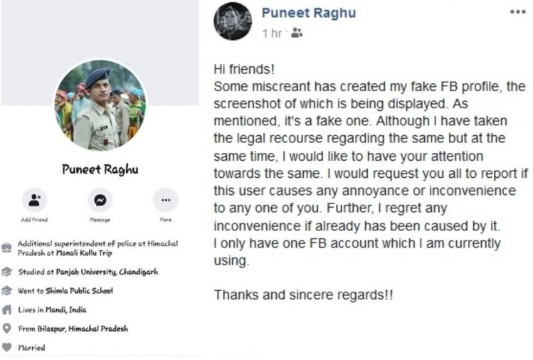 Miscreants created Fake Facebook  account of Mandi ASP Punit Raghu