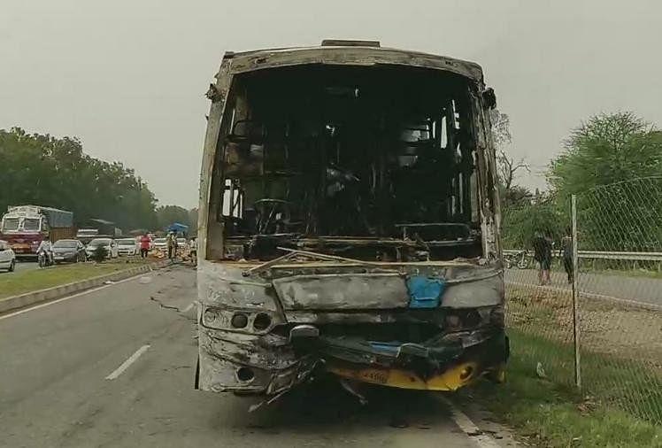 पिपली में बस में लगी आग।