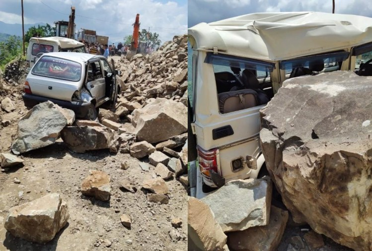 Boulder Falls on Two Vehicle on Rishikesh badrinath highway after Mountain collapse