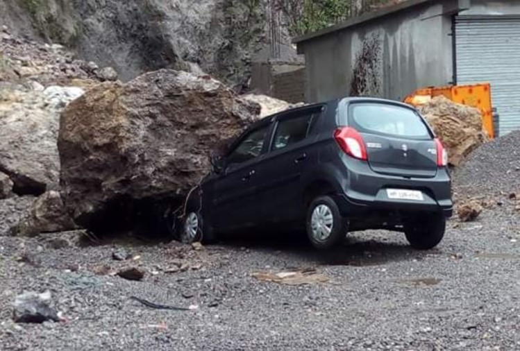 Pictures of damage to roads houses due to heavy rain in himachal
