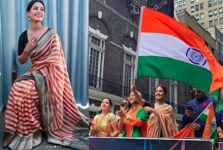 hina khan in traditional saree looks gorgeous cheering for India in USA